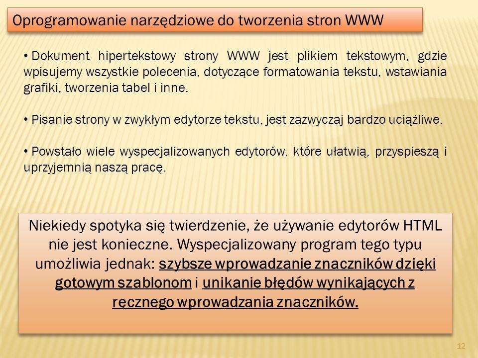 Dokument hipertekstowy strony WWW jest plikiem tekstowym, gdzie wpisujemy wszystkie polecenia, dotyczące formatowania tekstu, wstawiania grafiki, twor