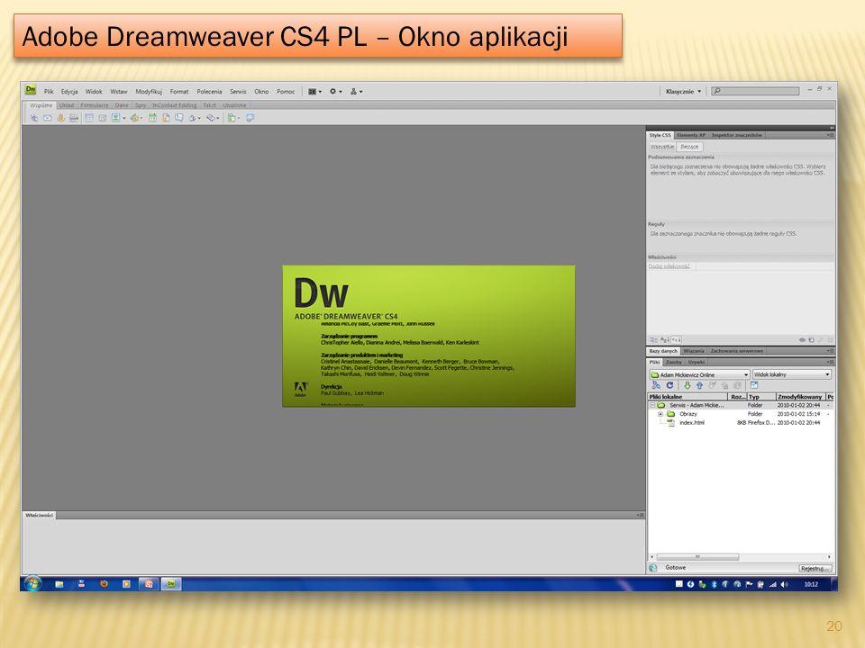 Adobe Dreamweaver CS4 PL – Okno aplikacji 20