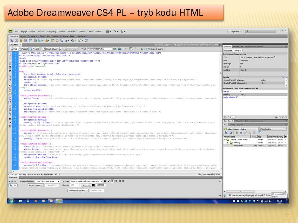 Adobe Dreamweaver CS4 PL – tryb kodu HTML 21