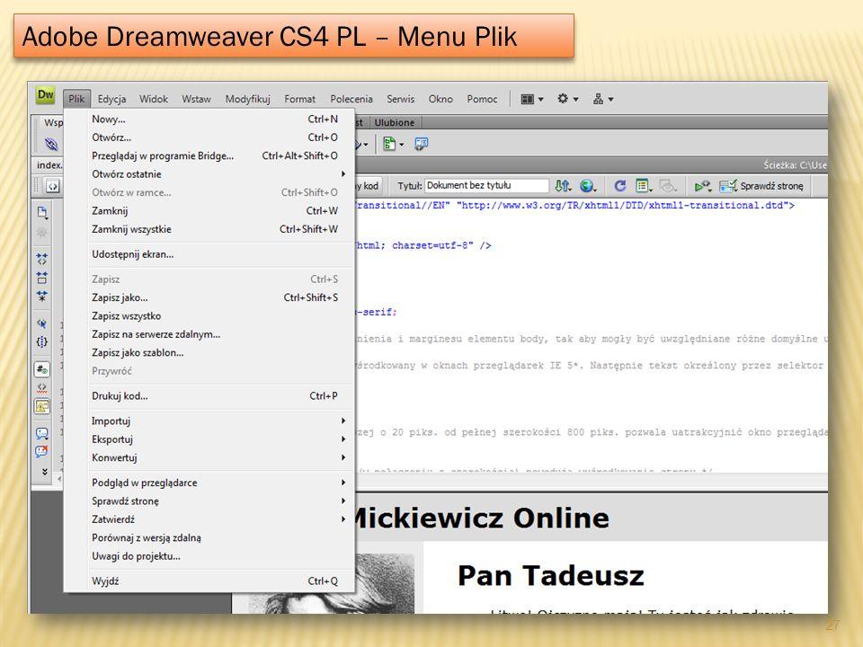 Adobe Dreamweaver CS4 PL – Menu Plik 27