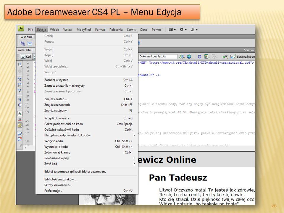 Adobe Dreamweaver CS4 PL – Menu Edycja 28