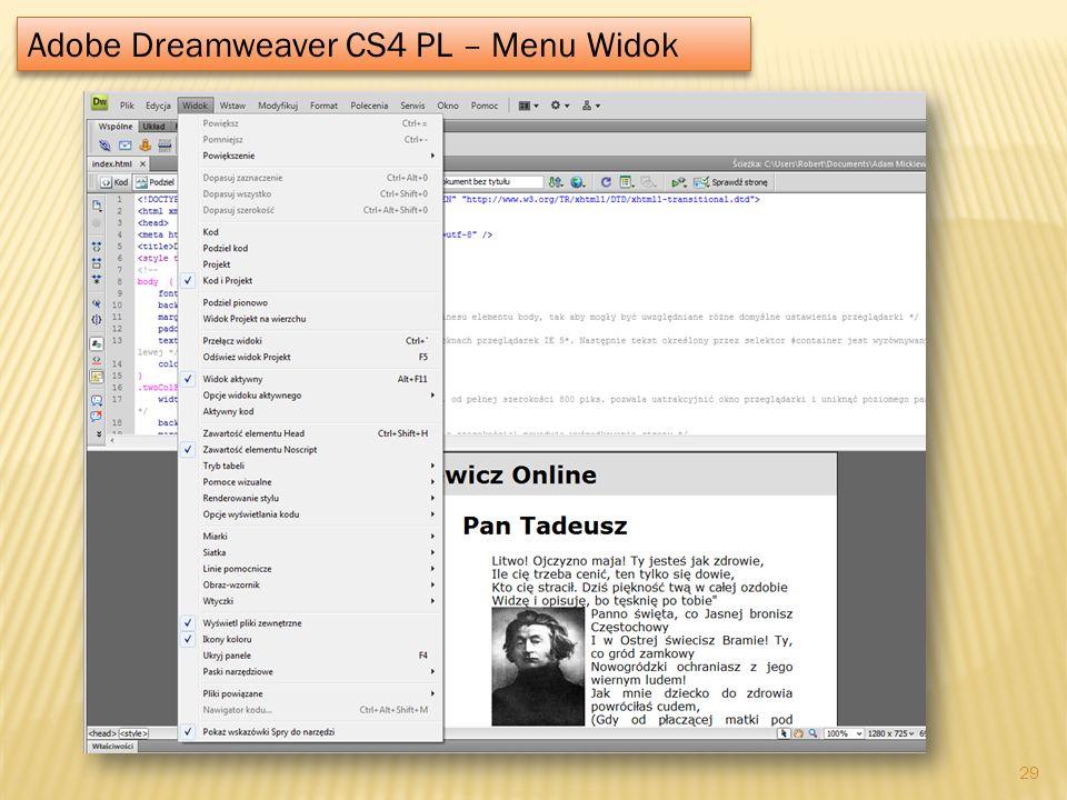 Adobe Dreamweaver CS4 PL – Menu Widok 29