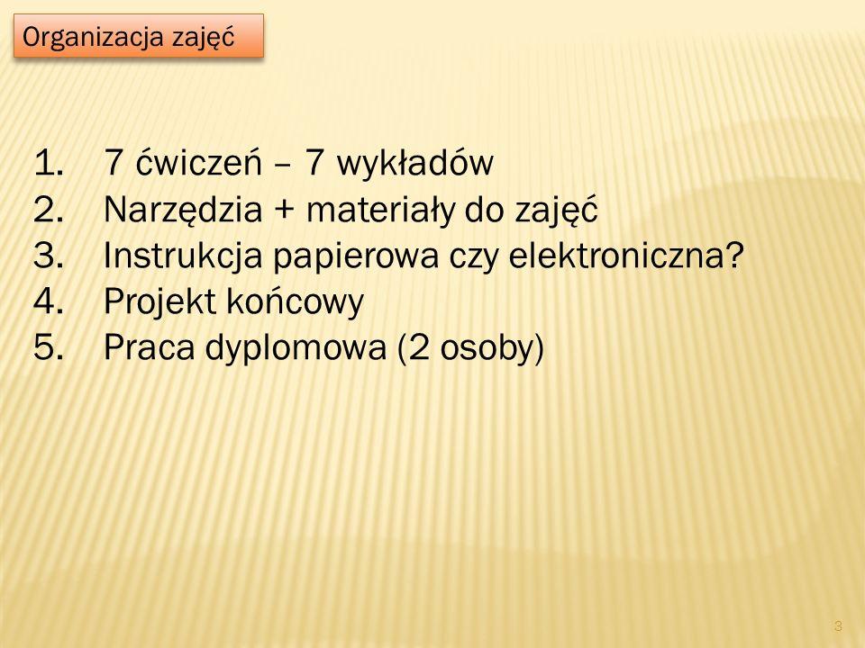 Organizacja zajęć 1.7 ćwiczeń – 7 wykładów 2.Narzędzia + materiały do zajęć 3.Instrukcja papierowa czy elektroniczna? 4.Projekt końcowy 5.Praca dyplom