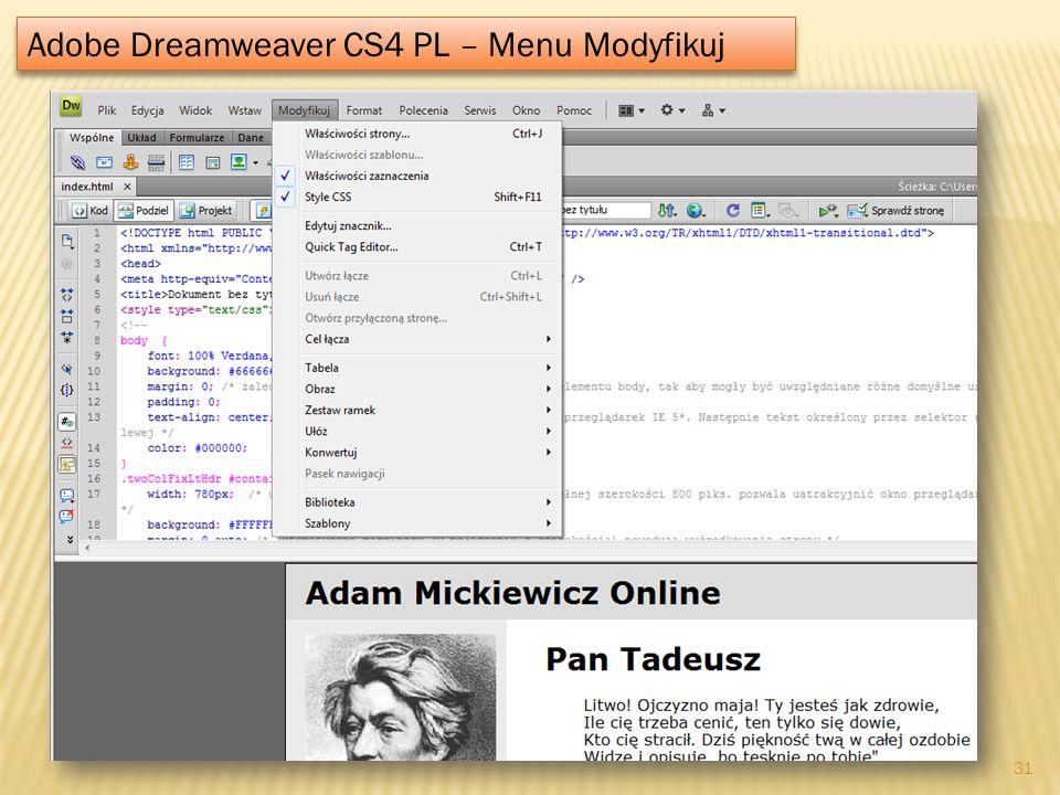 Adobe Dreamweaver CS4 PL – Menu Modyfikuj 31