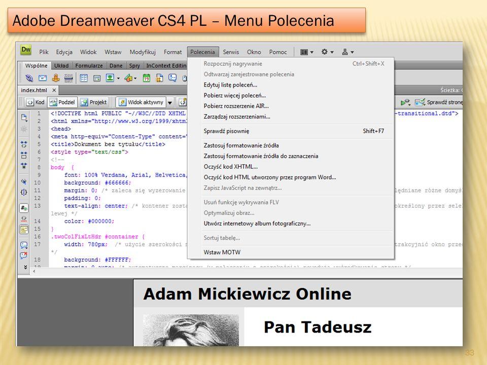 Adobe Dreamweaver CS4 PL – Menu Polecenia 33