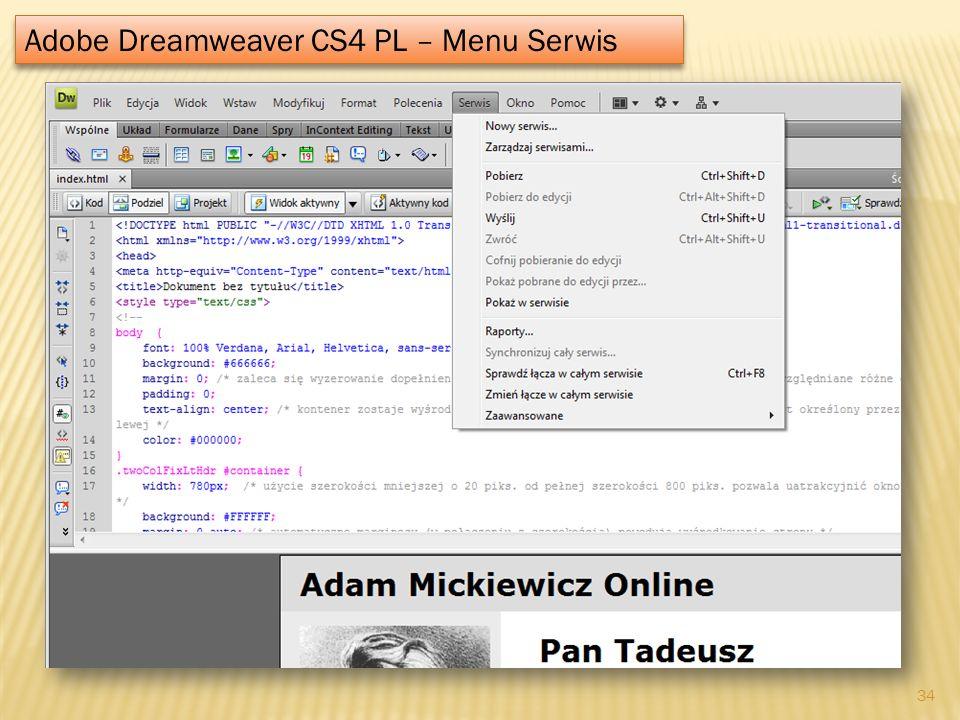 Adobe Dreamweaver CS4 PL – Menu Serwis 34