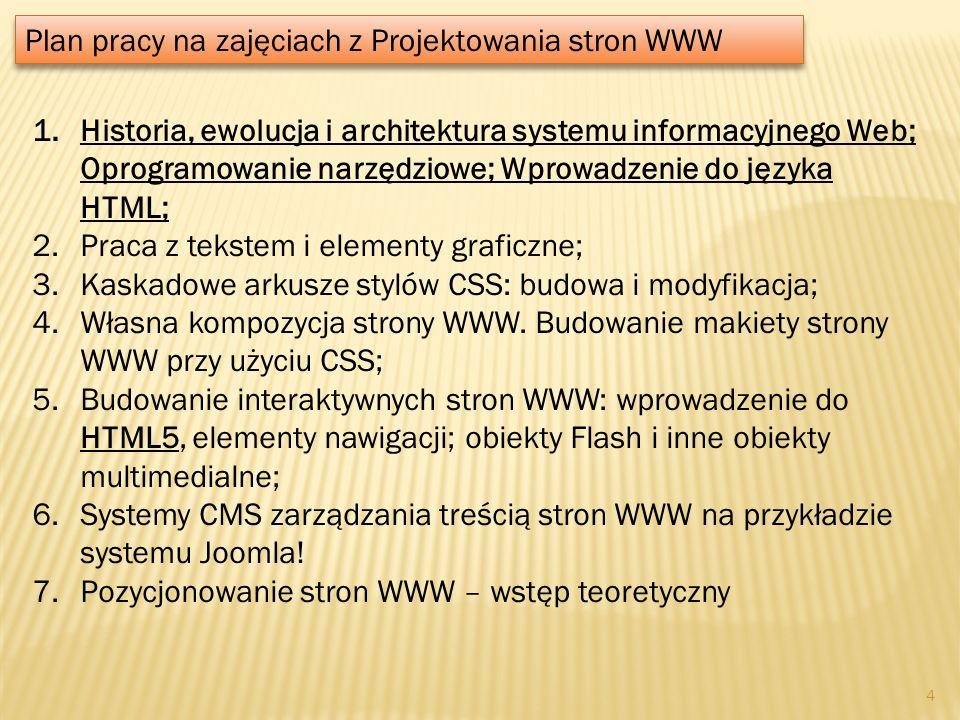 Plan pracy na zajęciach z Projektowania stron WWW 1.Historia, ewolucja i architektura systemu informacyjnego Web; Oprogramowanie narzędziowe; Wprowadz