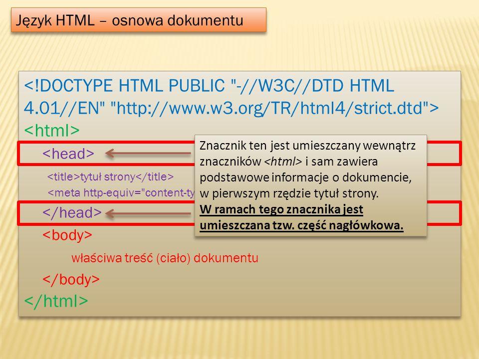 Język HTML – osnowa dokumentu tytuł strony właściwa treść (ciało) dokumentu tytuł strony właściwa treść (ciało) dokumentu Znacznik ten jest umieszczan