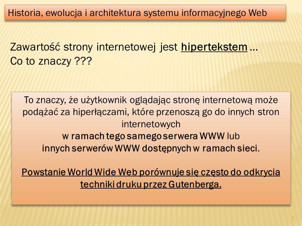 Zawartość strony internetowej jest hipertekstem … Co to znaczy ??? Historia, ewolucja i architektura systemu informacyjnego Web To znaczy, że użytkown