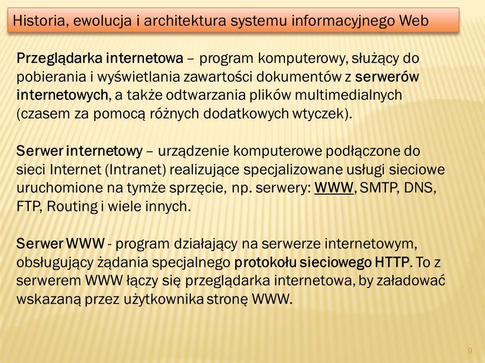 Przeglądarka internetowa – program komputerowy, służący do pobierania i wyświetlania zawartości dokumentów z serwerów internetowych, a także odtwarzan