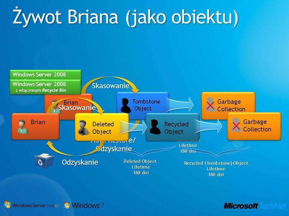 Tombstone Object Windows Server 2008 - bez Recycle Bin Windows Server 2008 - bez Recycle Bin Garbage Collection Brian Auth Restore/ Odzyskanie Skasowa