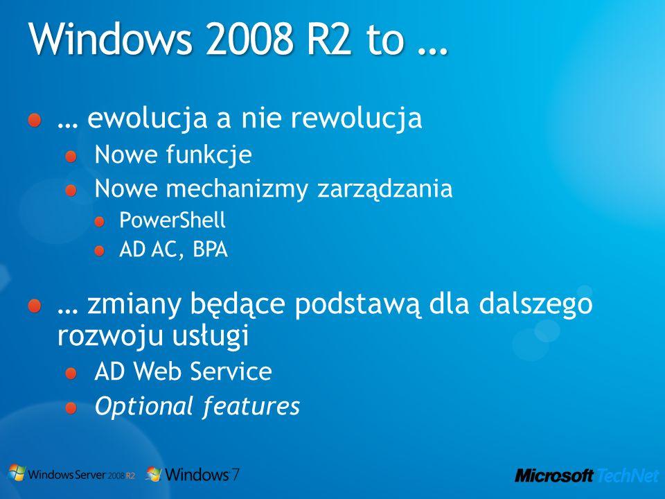Windows 2008 R2 to … … ewolucja a nie rewolucja Nowe funkcje Nowe mechanizmy zarządzania PowerShell AD AC, BPA … zmiany będące podstawą dla dalszego r