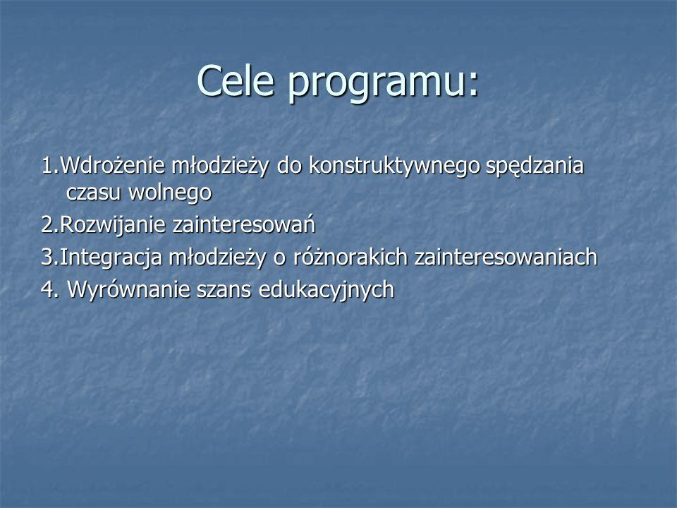 Cele programu: 1.Wdrożenie młodzieży do konstruktywnego spędzania czasu wolnego 2.Rozwijanie zainteresowań 3.Integracja młodzieży o różnorakich zainteresowaniach 4.