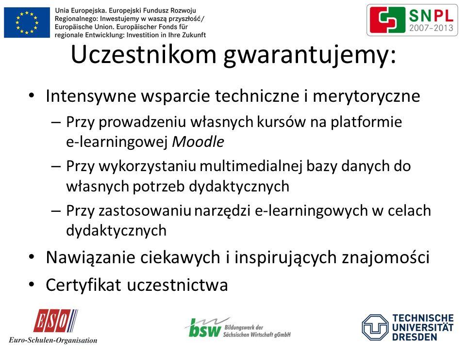 Uczestnikom gwarantujemy: Intensywne wsparcie techniczne i merytoryczne – Przy prowadzeniu własnych kursów na platformie e-learningowej Moodle – Przy
