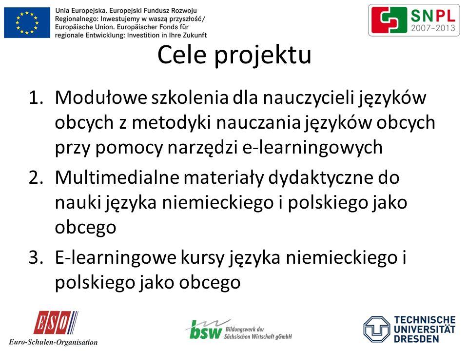 Cele projektu 1.Modułowe szkolenia dla nauczycieli języków obcych z metodyki nauczania języków obcych przy pomocy narzędzi e-learningowych 2.Multimedialne materiały dydaktyczne do nauki języka niemieckiego i polskiego jako obcego 3.E-learningowe kursy języka niemieckiego i polskiego jako obcego