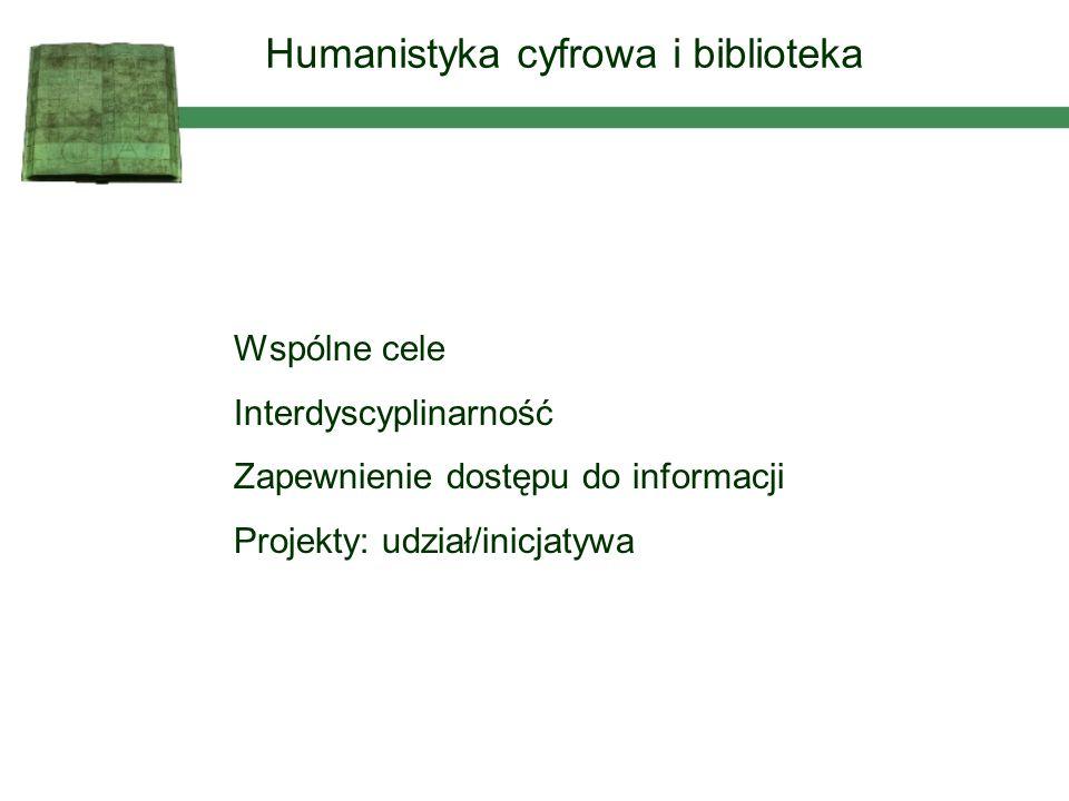 Wspólne cele Interdyscyplinarność Zapewnienie dostępu do informacji Projekty: udział/inicjatywa Humanistyka cyfrowa i biblioteka