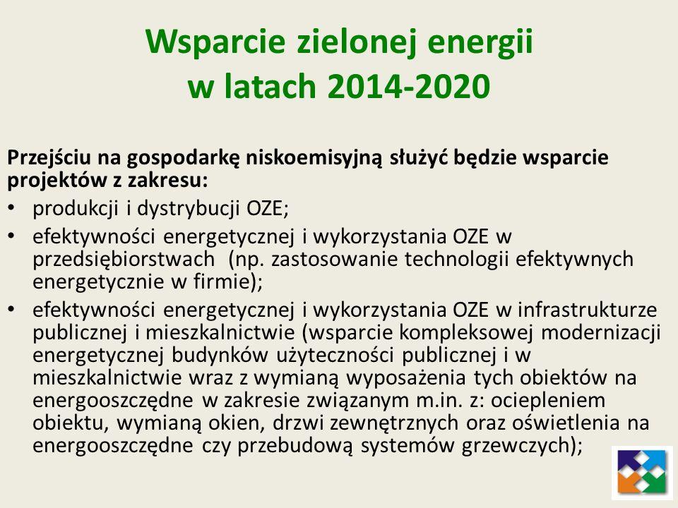 Wsparcie zielonej energii w latach 2014-2020 Przejściu na gospodarkę niskoemisyjną służyć będzie wsparcie projektów z zakresu: produkcji i dystrybucji