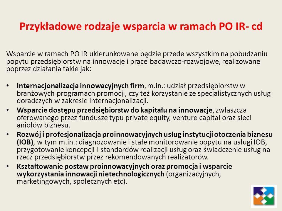 Przykładowe rodzaje wsparcia w ramach PO IR- cd Wsparcie w ramach PO IR ukierunkowane będzie przede wszystkim na pobudzaniu popytu przedsiębiorstw na