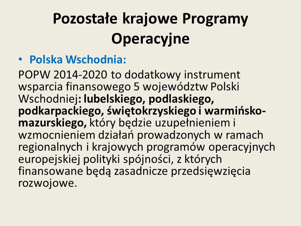 Pozostałe krajowe Programy Operacyjne Polska Wschodnia: POPW 2014-2020 to dodatkowy instrument wsparcia finansowego 5 województw Polski Wschodniej: lu