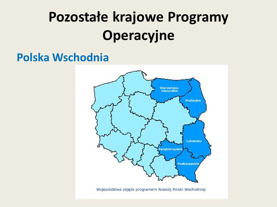 Polska Wschodnia Pozostałe krajowe Programy Operacyjne