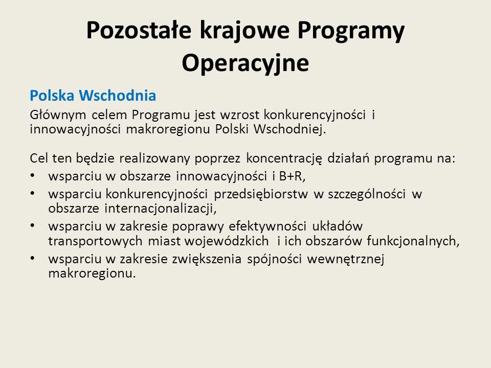 Polska Wschodnia Głównym celem Programu jest wzrost konkurencyjności i innowacyjności makroregionu Polski Wschodniej. Cel ten będzie realizowany poprz