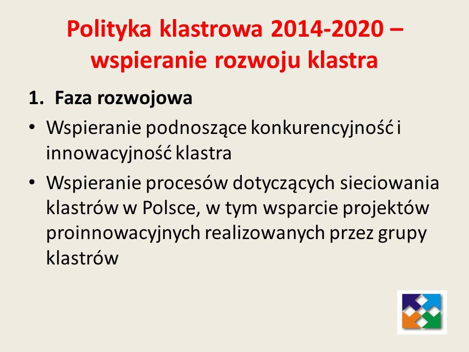 1.Faza rozwojowa Wspieranie podnoszące konkurencyjność i innowacyjność klastra Wspieranie procesów dotyczących sieciowania klastrów w Polsce, w tym ws