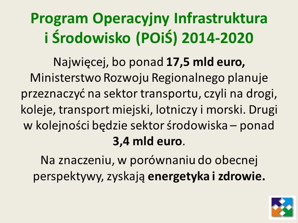 Program Operacyjny Infrastruktura i Środowisko (POiŚ) 2014-2020 Najwięcej, bo ponad 17,5 mld euro, Ministerstwo Rozwoju Regionalnego planuje przeznacz