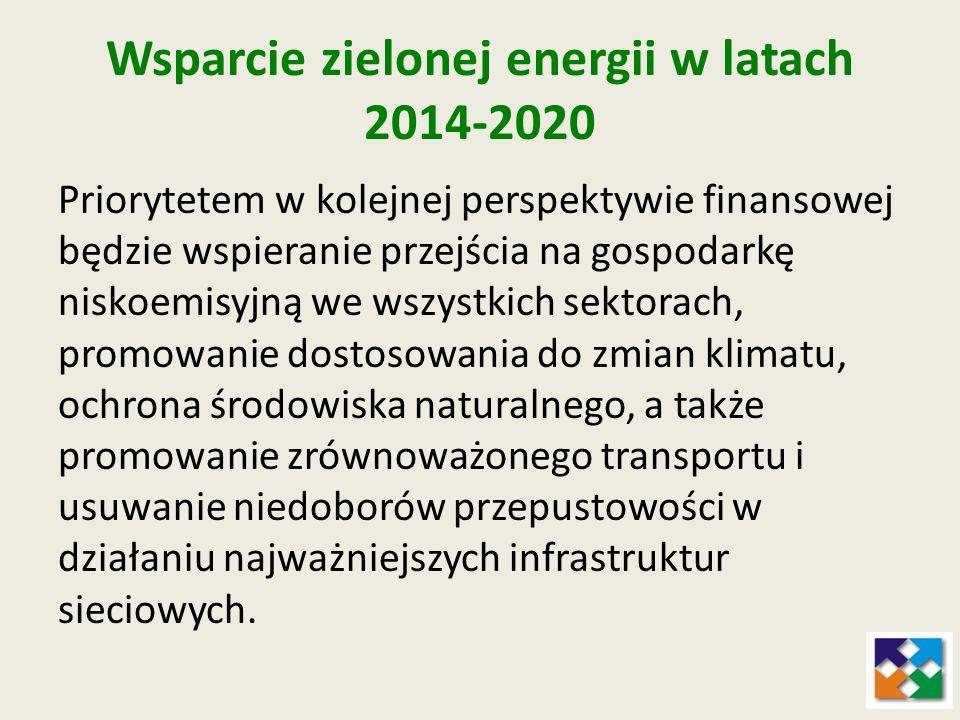 Wsparcie zielonej energii w latach 2014-2020 Przejściu na gospodarkę niskoemisyjną służyć będzie wsparcie projektów z zakresu: produkcji i dystrybucji OZE; efektywności energetycznej i wykorzystania OZE w przedsiębiorstwach (np.