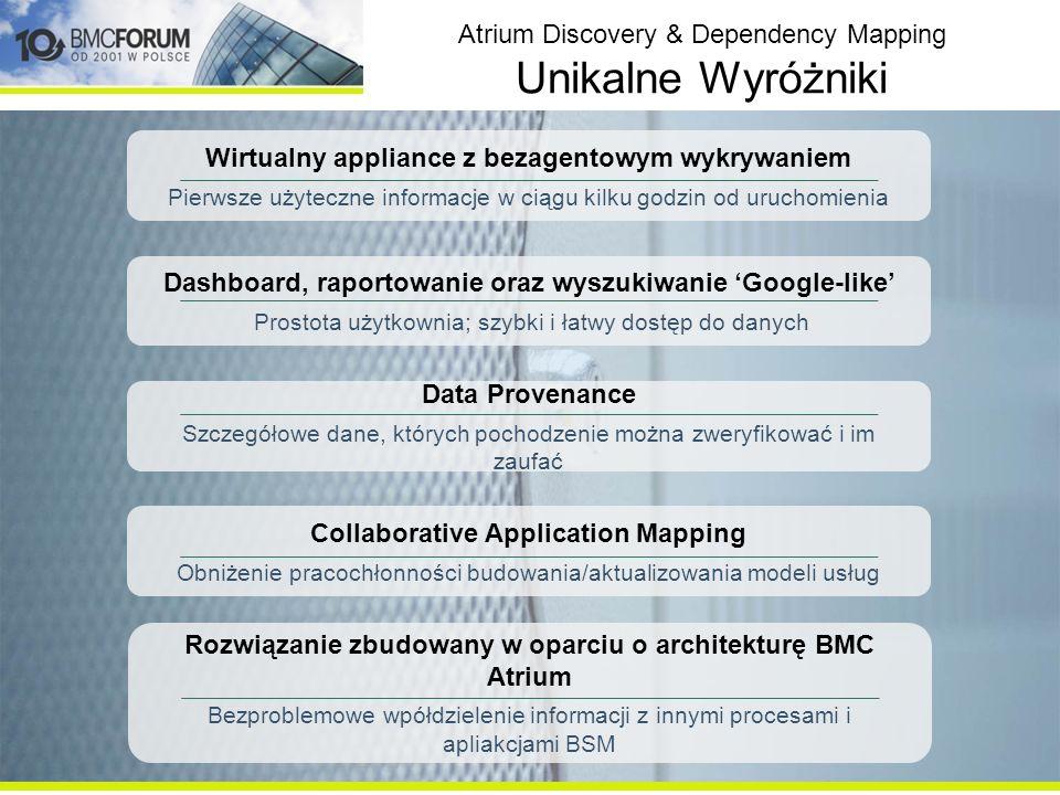 Atrium Discovery & Dependency Mapping Unikalne Wyróżniki Wirtualny appliance z bezagentowym wykrywaniem Pierwsze użyteczne informacje w ciągu kilku godzin od uruchomienia Collaborative Application Mapping Obniżenie pracochłonności budowania/aktualizowania modeli usług Data Provenance Szczegółowe dane, których pochodzenie można zweryfikować i im zaufać Dashboard, raportowanie oraz wyszukiwanie Google-like Prostota użytkownia; szybki i łatwy dostęp do danych Rozwiązanie zbudowany w oparciu o architekturę BMC Atrium Bezproblemowe wpółdzielenie informacji z innymi procesami i apliakcjami BSM
