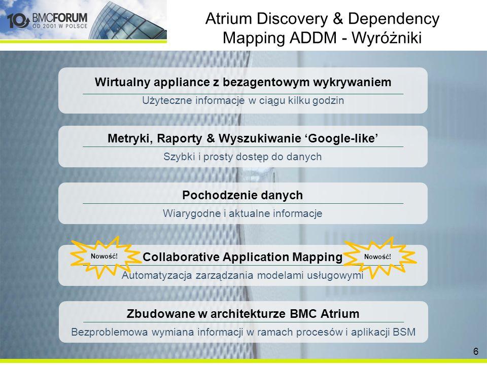 Atrium Discovery & Dependency Mapping ADDM - Wyróżniki Wirtualny appliance z bezagentowym wykrywaniem Użyteczne informacje w ciągu kilku godzin Pochodzenie danych Wiarygodne i aktualne informacje Metryki, Raporty & Wyszukiwanie Google-like Szybki i prosty dostęp do danych Zbudowane w architekturze BMC Atrium Bezproblemowa wymiana informacji w ramach procesów i aplikacji BSM Collaborative Application Mapping Automatyzacja zarządzania modelami usługowymi Nowość.