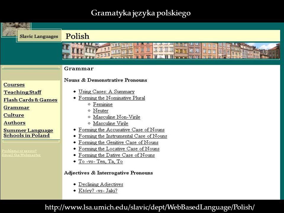 http://www.lsa.umich.edu/slavic/dept/WebBasedLanguage/Polish/ Gramatyka języka polskiego