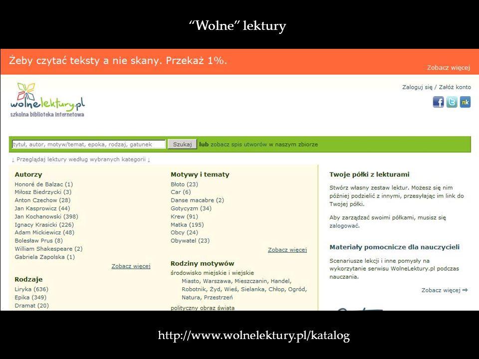 http://www.wolnelektury.pl/katalog / Wolne lektury
