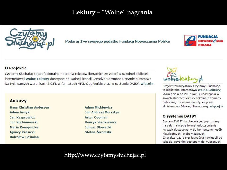 http://www.czytamysluchajac.pl Lektury – Wolne nagrania