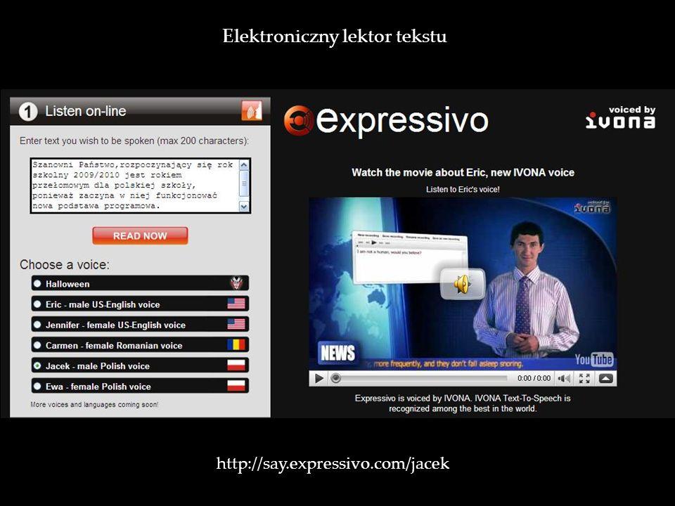 http://say.expressivo.com/jacek / Elektroniczny lektor tekstu