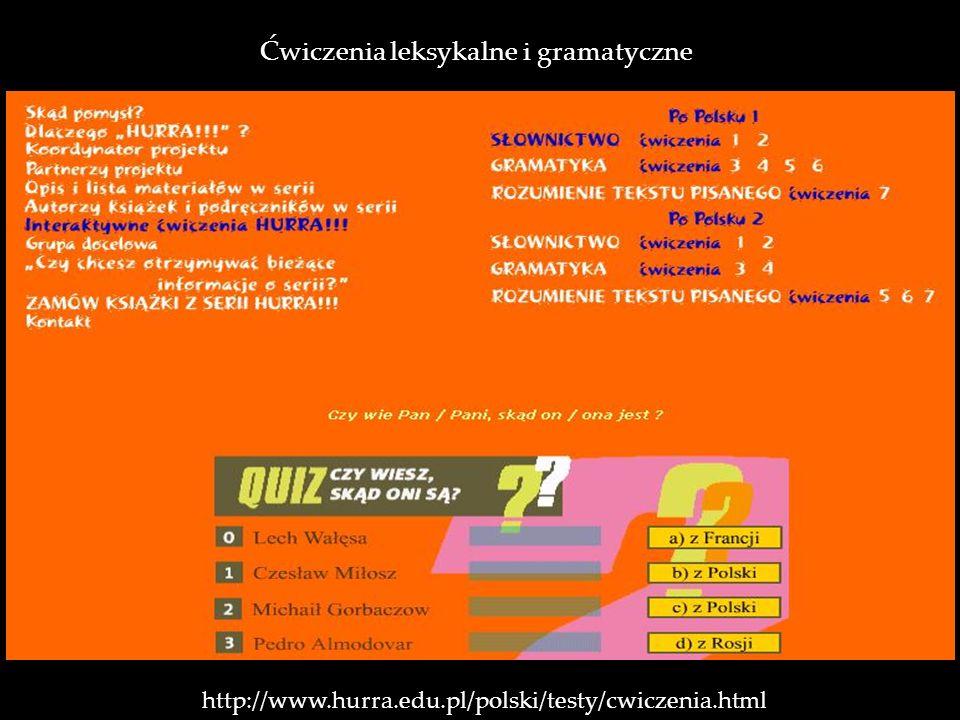 http://www.hurra.edu.pl/polski/testy/cwiczenia.html Ćwiczenia leksykalne i gramatyczne