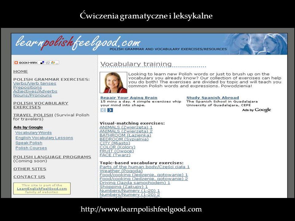 http://www.learnpolishfeelgood.com Ćwiczenia gramatyczne i leksykalne