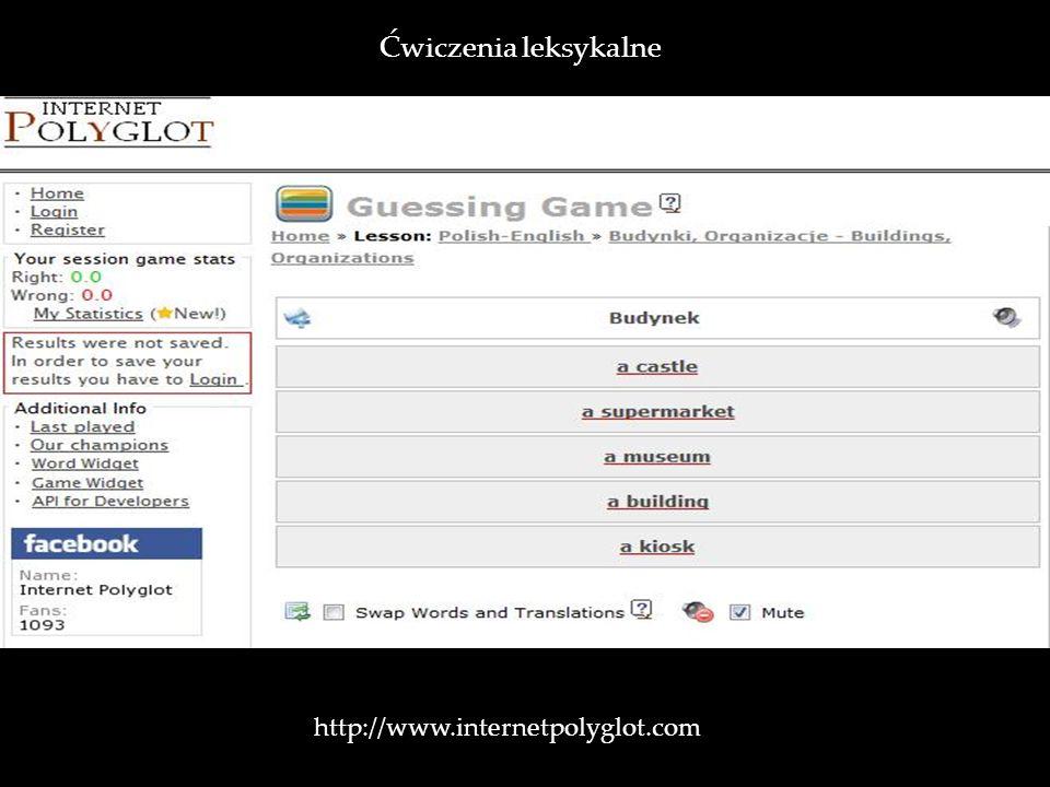 http://www.internetpolyglot.com Ćwiczenia leksykalne