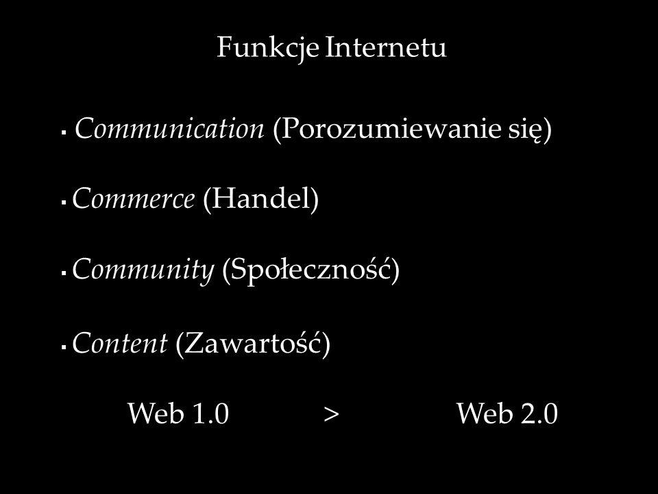 Funkcje Internetu Communication (Porozumiewanie się) Commerce (Handel) Community (Społeczność) Content (Zawartość) Web 1.0>Web 2.0