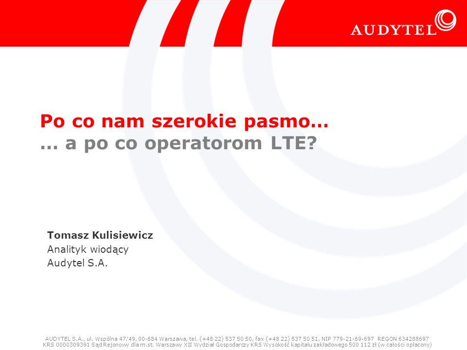 Po co nam szerokie pasmo Dostęp szerokopasmowy: dostęp z przepływnością umożliwiającą wygodne korzystanie z podstawowych usług internetowych – czyli: … od poczty elektronicznej po IPTV multiroom HD/3D/ Choć nasz dostęp naprawdę szerokopasmowy ma dopiero 5-6 lat, to pokolenie Web n.0 jest Always-On 73% Polaków w wieku 16+ ma dostęp… … ale korzysta tylko: 60% ogółem, 44% na wsi, 11% z grupy wiekowej 60+ (źródło: D.