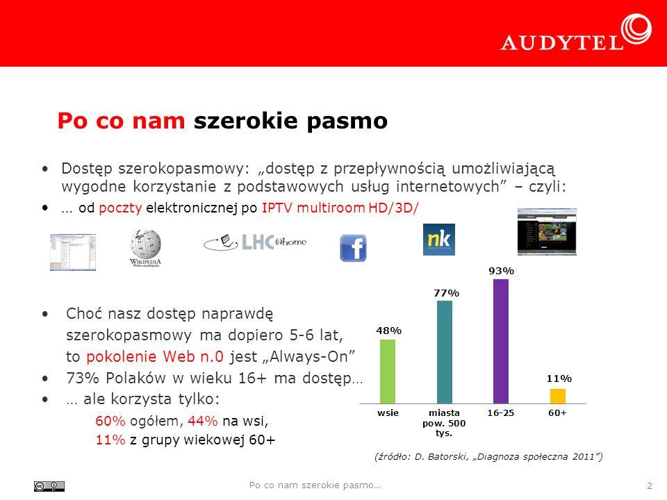 Dostęp prawem obywatelskim Dostęp szerokopasmowy jako usługa powszechna: –Szwajcaria od 2008 r., –Finlandia od 1 lipca 2010 r.