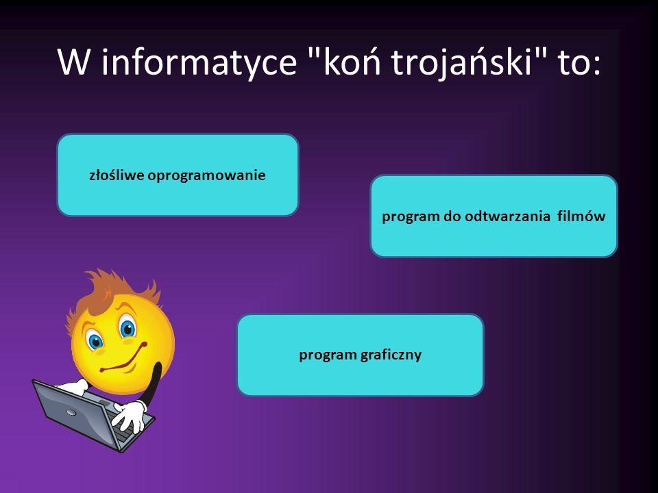W informatyce koń trojański to: złośliwe oprogramowanie program do odtwarzania filmów program graficzny