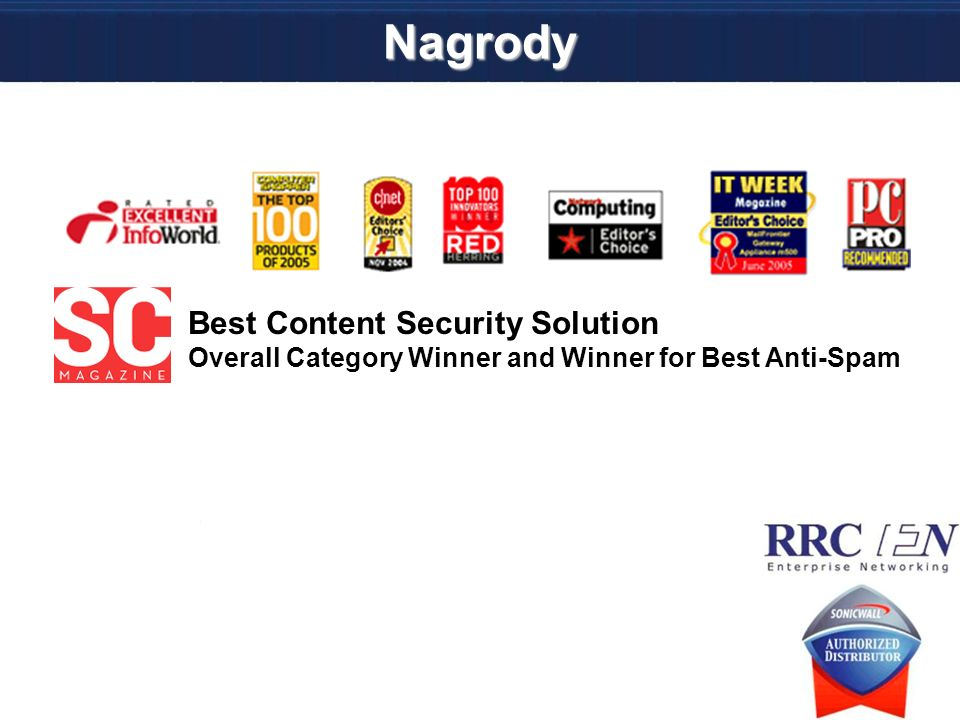 Nagrody Best Content Security Solution Overall Category Winner and Winner for Best Anti-Spam