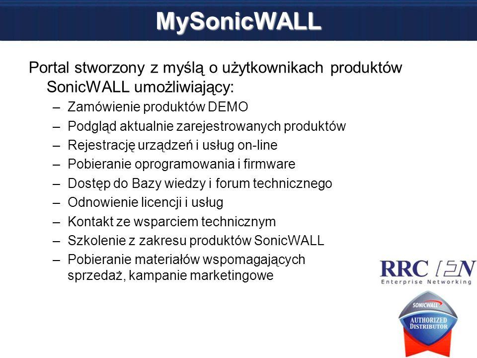 MySonicWALL Portal stworzony z myślą o użytkownikach produktów SonicWALL umożliwiający: –Zamówienie produktów DEMO –Podgląd aktualnie zarejestrowanych