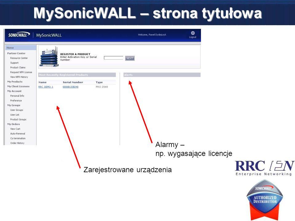 MySonicWALL – strona tytułowa Zarejestrowane urządzenia Alarmy – np. wygasające licencje