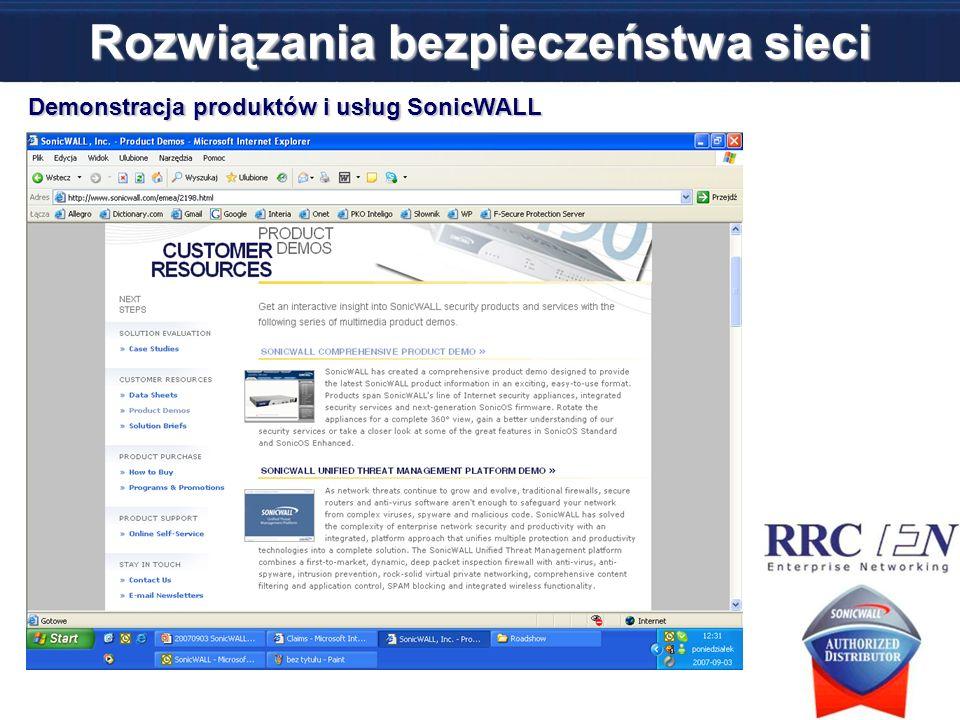 Rozwiązania bezpieczeństwa sieci Demonstracja produktów i usług SonicWALL