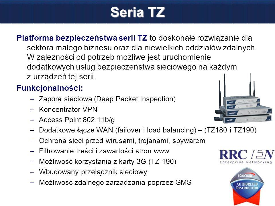 Seria TZ Platforma bezpieczeństwa serii TZ to doskonałe rozwiązanie dla sektora małego biznesu oraz dla niewielkich oddziałów zdalnych. W zależności o