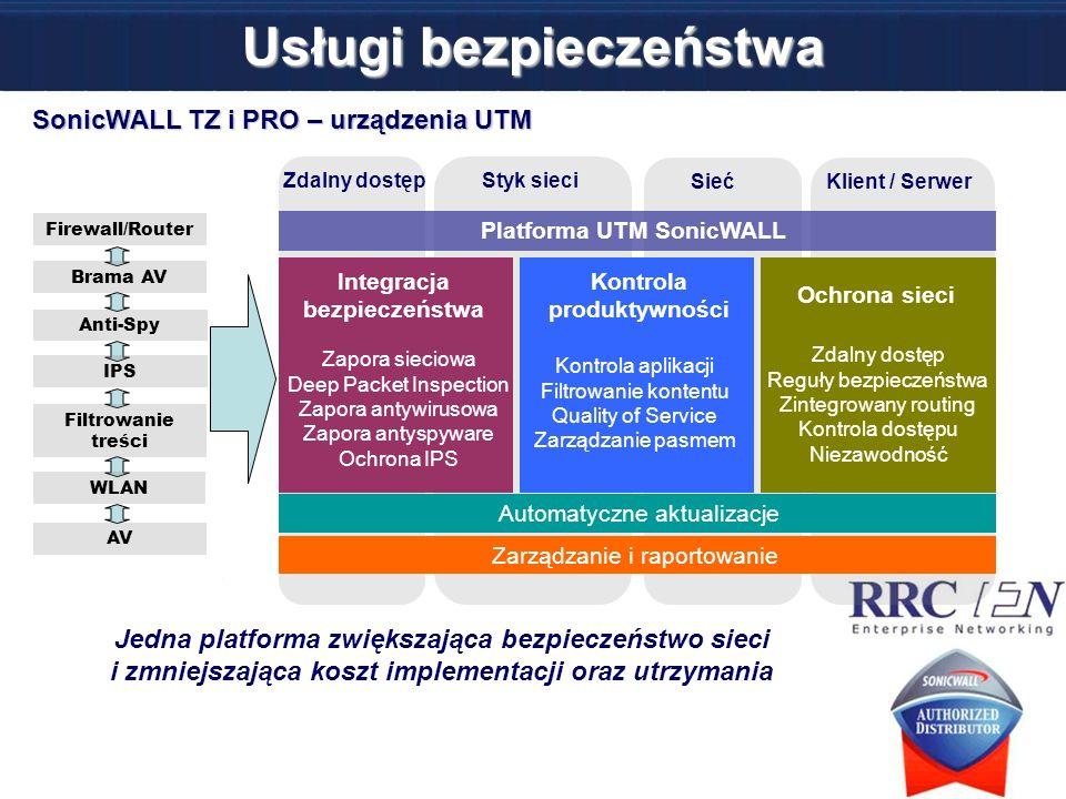 Usługi bezpieczeństwa Jedna platforma zwiększająca bezpieczeństwo sieci i zmniejszająca koszt implementacji oraz utrzymania Klient / Serwer Sieć Styk