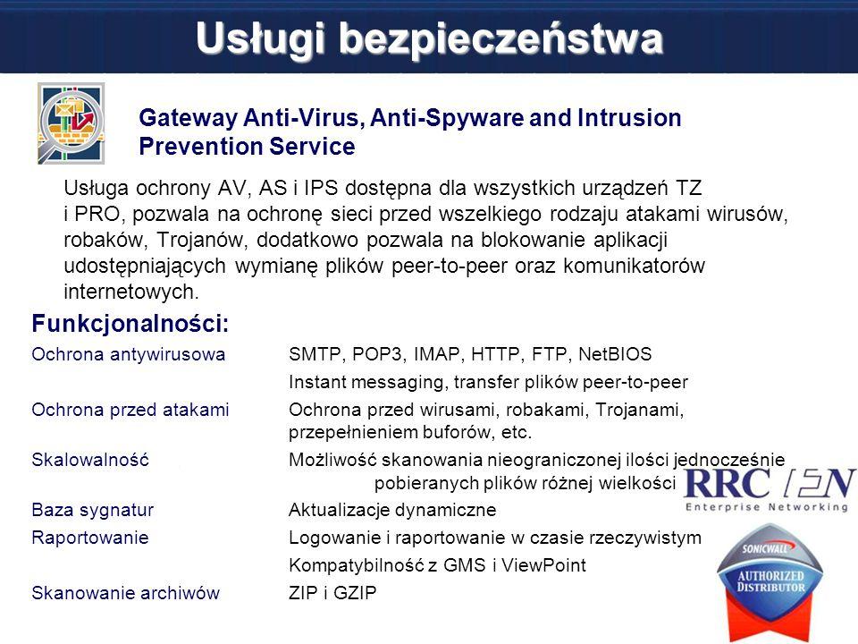 Usługi bezpieczeństwa Gateway Anti-Virus, Anti-Spyware and Intrusion Prevention Service Usługa ochrony AV, AS i IPS dostępna dla wszystkich urządzeń T