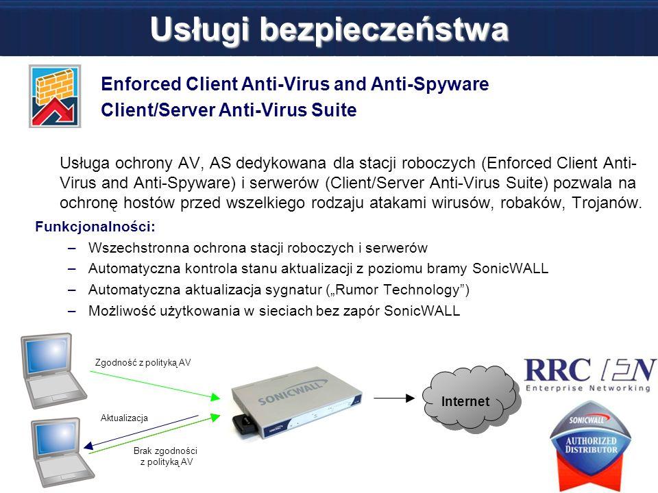 Usługi bezpieczeństwa Enforced Client Anti-Virus and Anti-Spyware Client/Server Anti-Virus Suite Usługa ochrony AV, AS dedykowana dla stacji roboczych