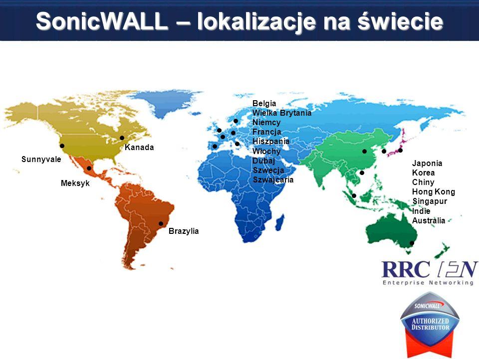 SonicWALL – lokalizacje na świecie Sunnyvale Belgia Wielka Brytania Niemcy Francja Hiszpania Włochy Dubaj Szwecja Szwajcaria Kanada Japonia Korea Chin